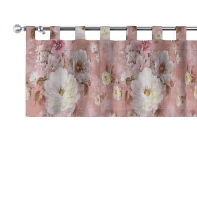 Krátky záves na pútkach 137-83 krémove a ružové kvety na tmavo ružovom podklade Kolekcia Flowers