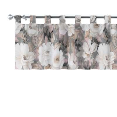 Krátky záves na pútkach 142-13 svetlé kvety na sivom podklade so svetlo ružovou a béžovou Kolekcia Gardenia