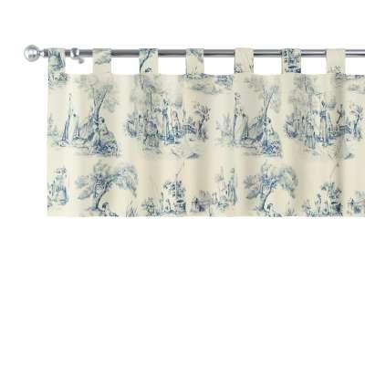 Gardinkappe med stropper 132-66 Blå print, creme bakgrunn Kolleksjon Avinon