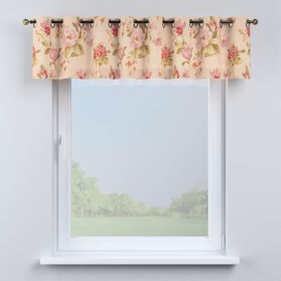 Eyelet pelmet 123-05 large red, pink and orange flowers, ivory backround Collection Londres