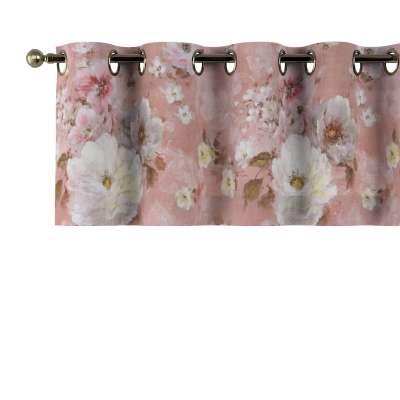 Krátky záves na kolieskach 137-83 krémove a ružové kvety na tmavo ružovom podklade Kolekcia Flowers