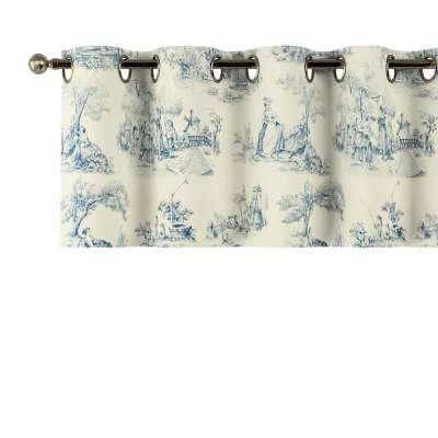Gardinkappe med maljer 132-66 Blå print, creme bakgrunn Kolleksjon Avinon
