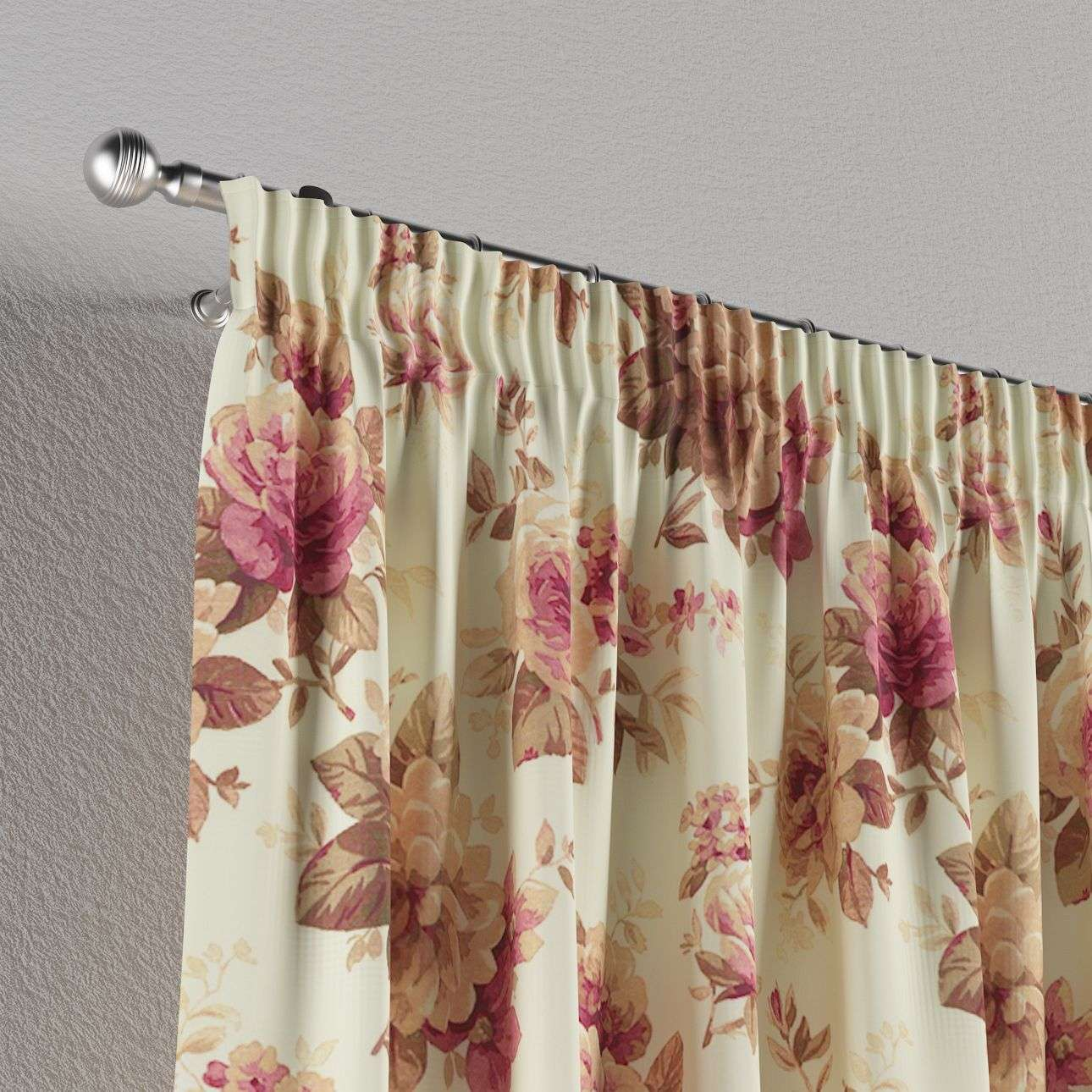 Pencil pleat curtains 130 x 260 cm (51 x 102 inch) in collection Mirella, fabric: 141-06