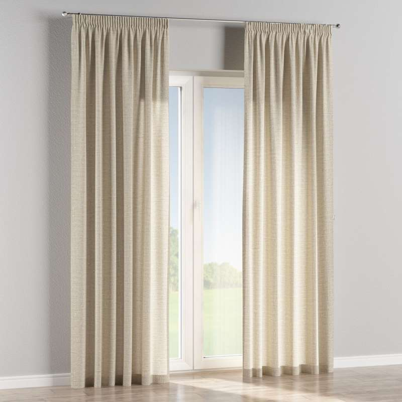 Pencil pleat curtain in collection Linen, fabric: 392-05