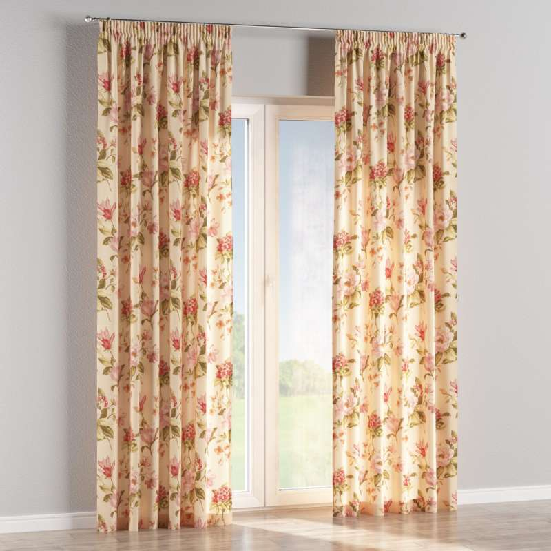 Pencil pleat curtain in collection Londres, fabric: 123-05