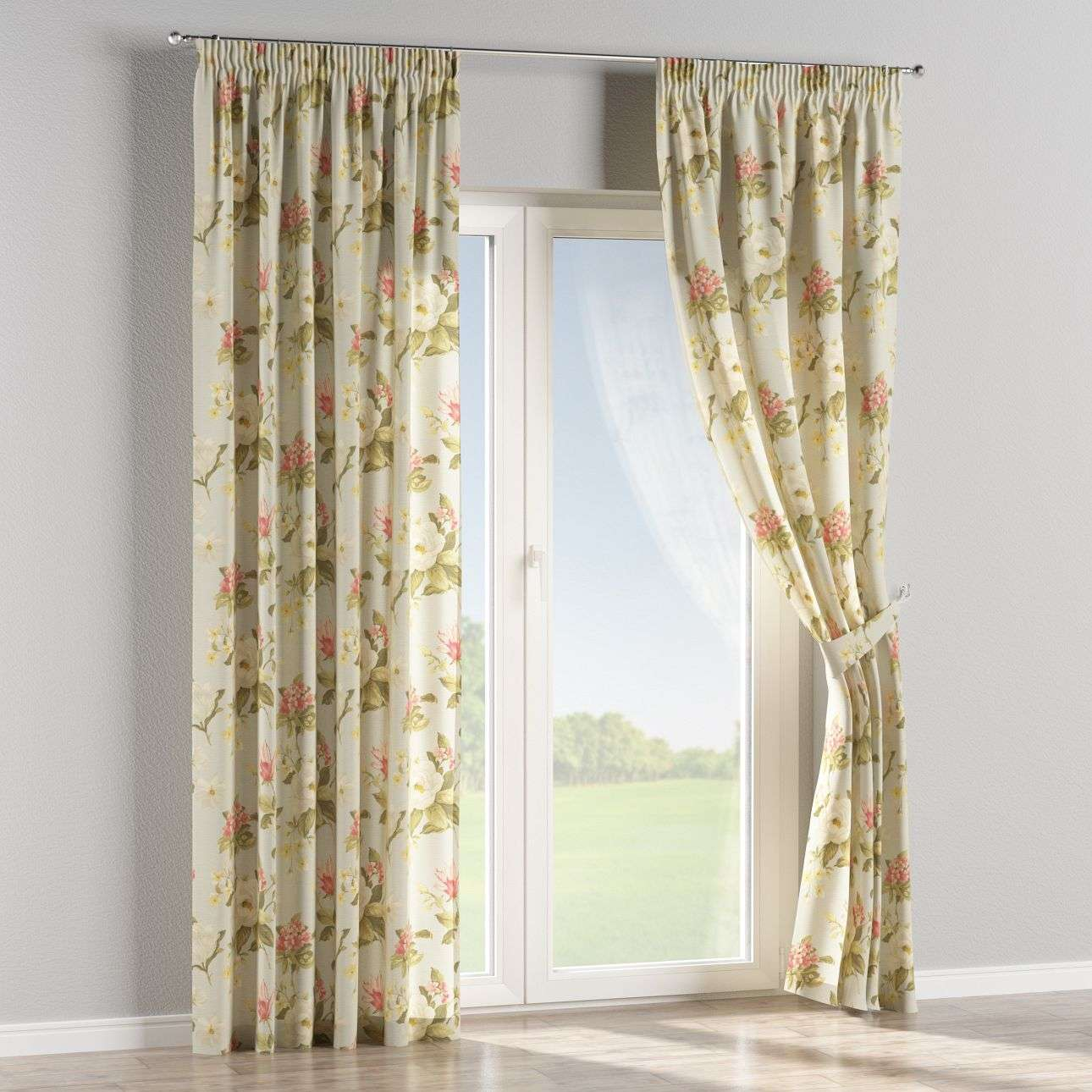 Pencil pleat curtains 130 x 260 cm (51 x 102 inch) in collection Londres, fabric: 123-65