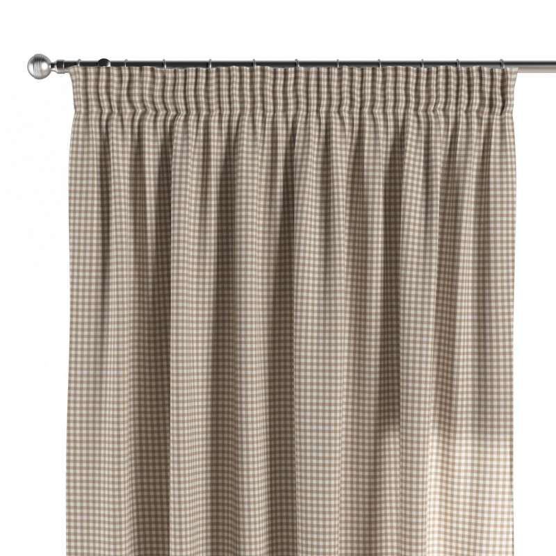 Pencil pleat curtain in collection Quadro, fabric: 136-05