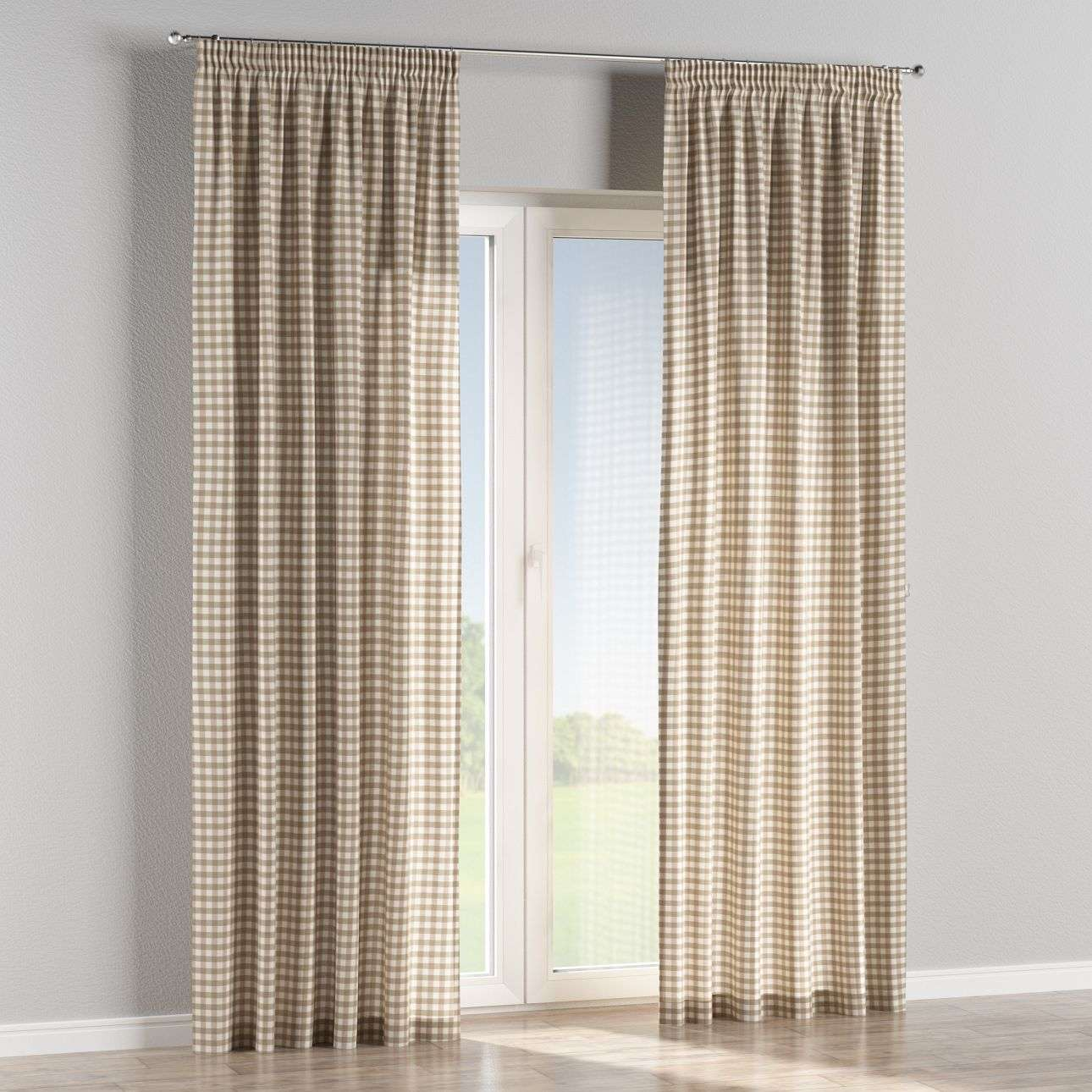 Pencil pleat curtains in collection Quadro, fabric: 136-06