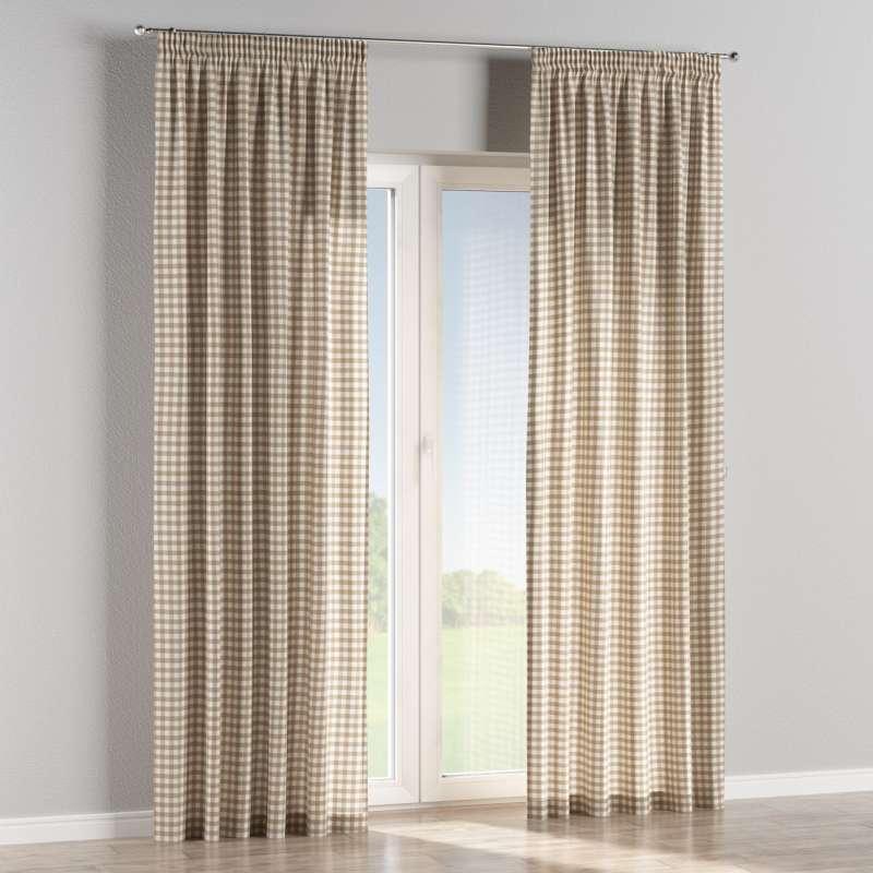 Pencil pleat curtain in collection Quadro, fabric: 136-06