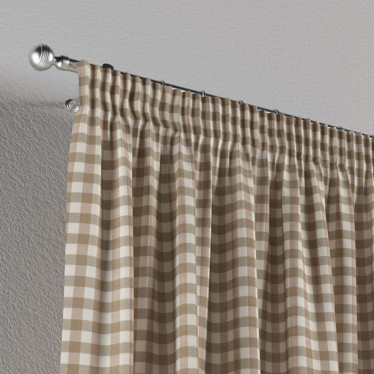 Pencil pleat curtains 130 x 260 cm (51 x 102 inch) in collection Quadro, fabric: 136-06