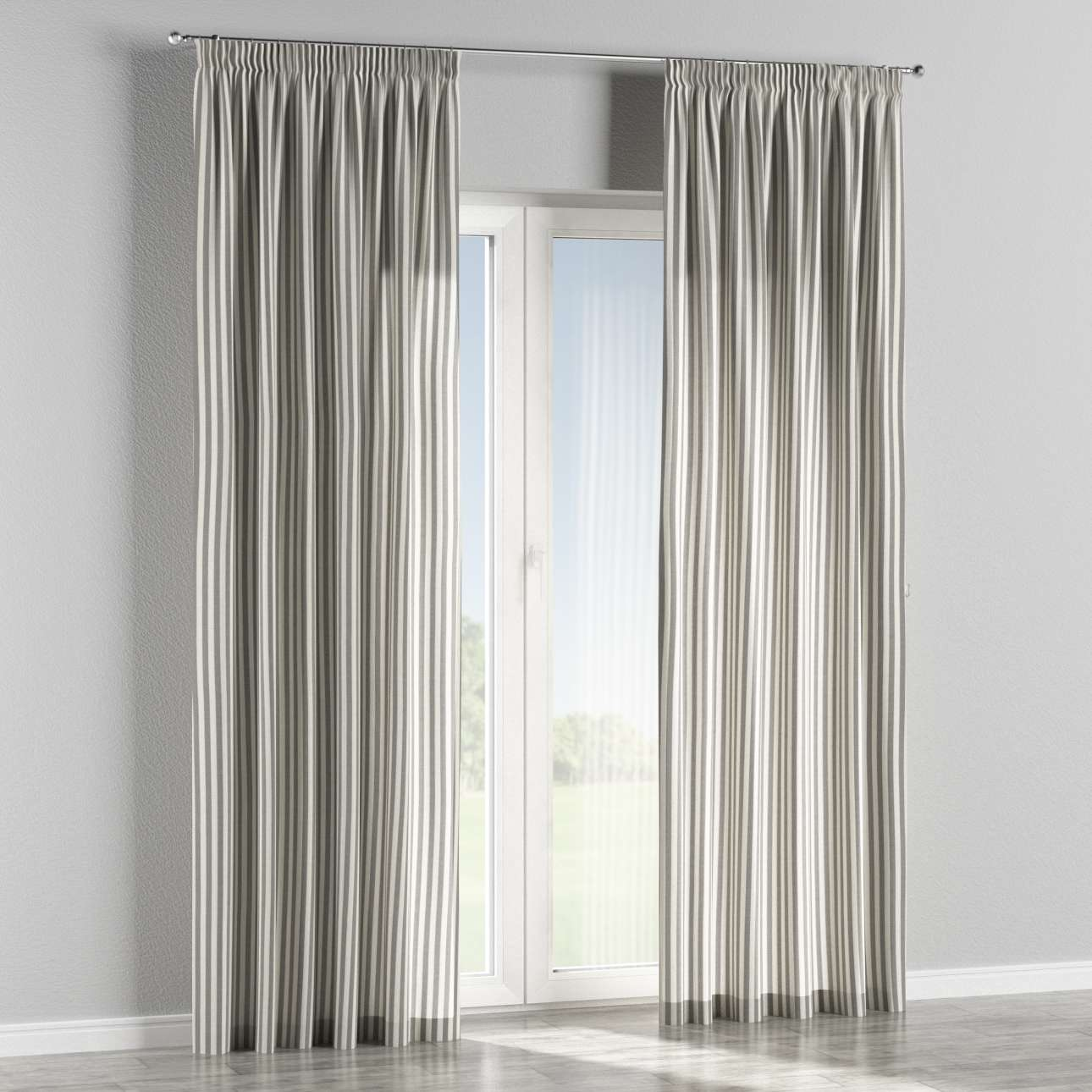 Pencil pleat curtains 130 × 260 cm (51 × 102 inch) in collection Quadro, fabric: 136-12