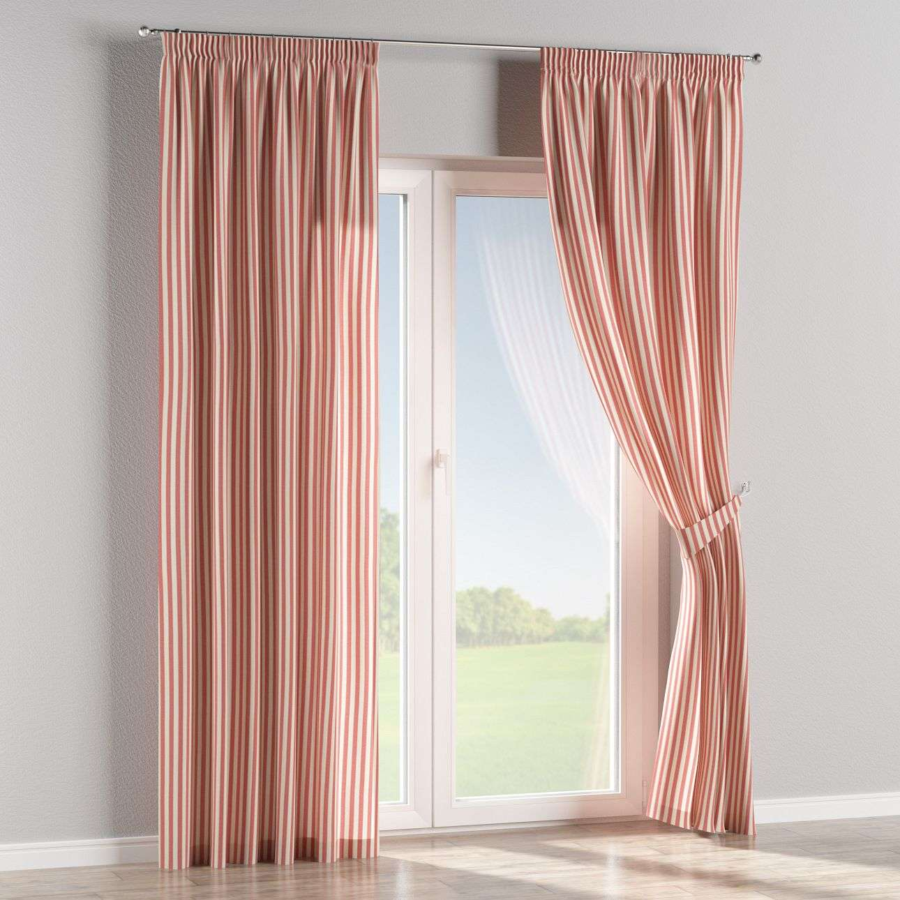 Pencil pleat curtains 130 x 260 cm (51 x 102 inch) in collection Quadro, fabric: 136-17