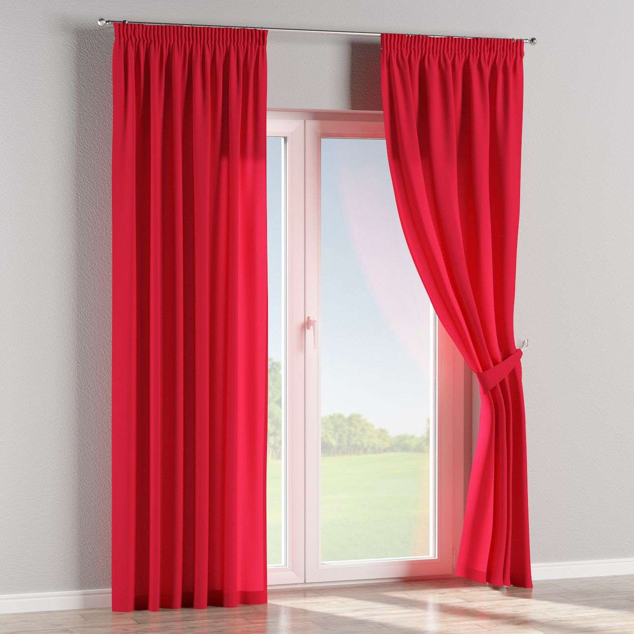 Pencil pleat curtains 130 x 260 cm (51 x 102 inch) in collection Quadro, fabric: 136-19