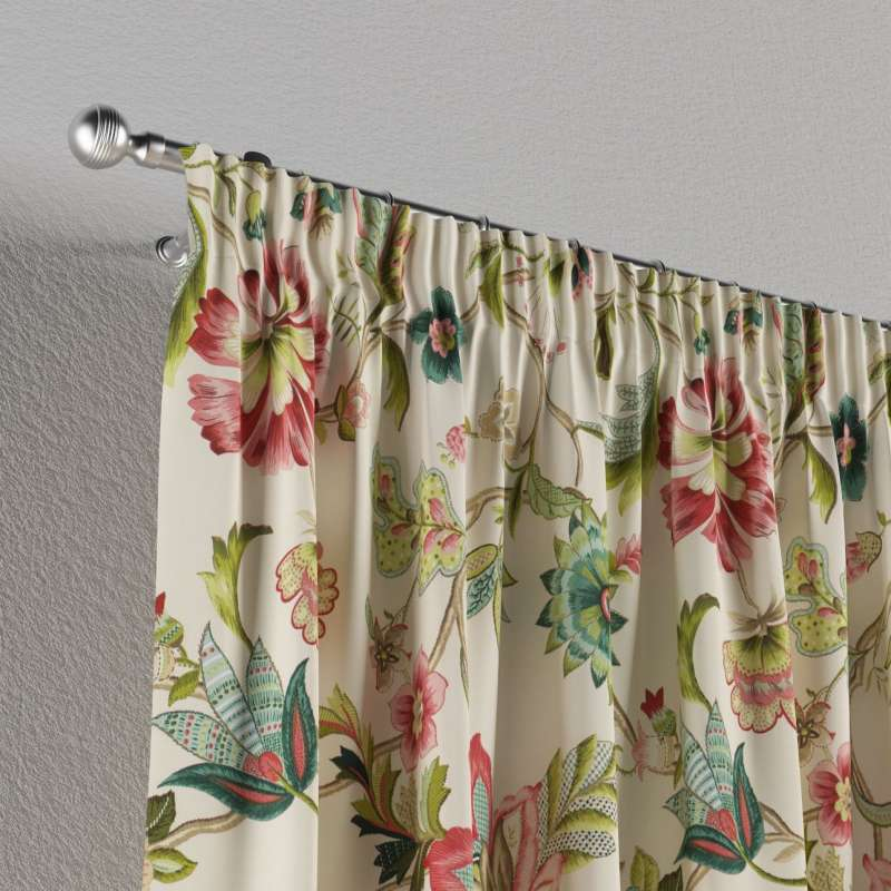 Pencil pleat curtains in collection Londres, fabric: 122-00