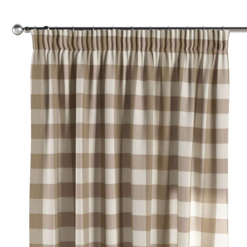 Pencil pleat curtain in collection Quadro, fabric: 136-08