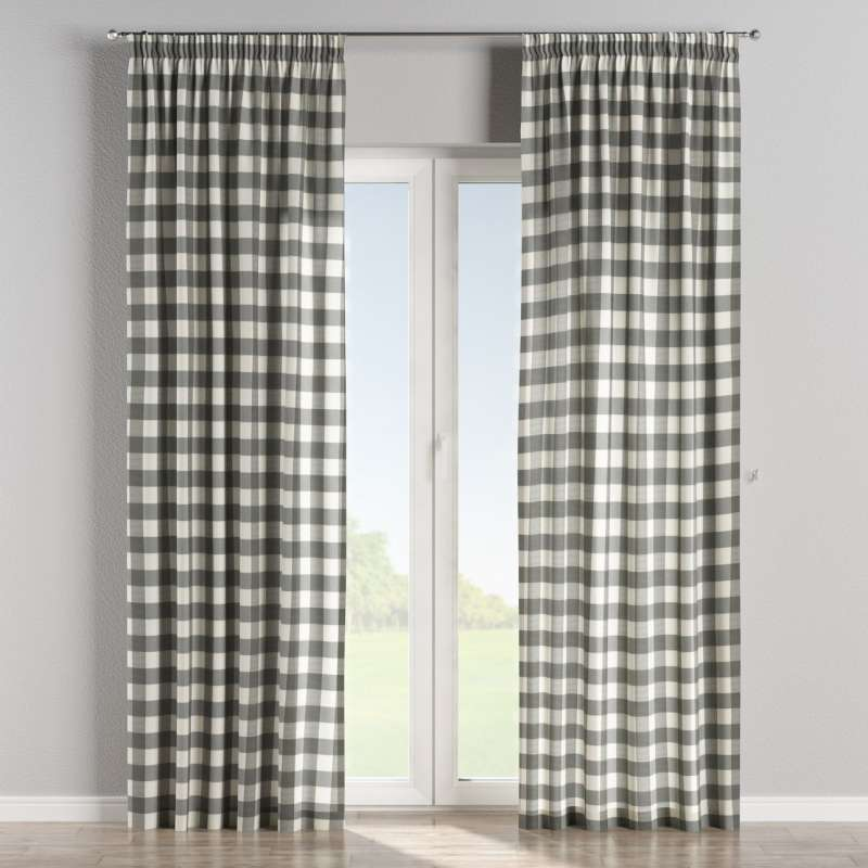 Pencil pleat curtain in collection Quadro, fabric: 136-13