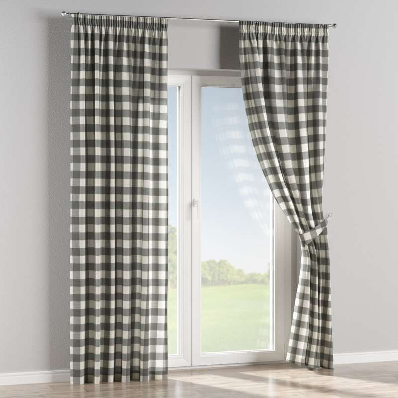 Pencil pleat curtains in collection Quadro, fabric: 136-13