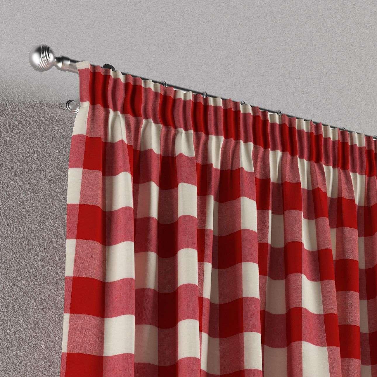 vorhang mit kr uselband weiss rot kariert dekoria. Black Bedroom Furniture Sets. Home Design Ideas