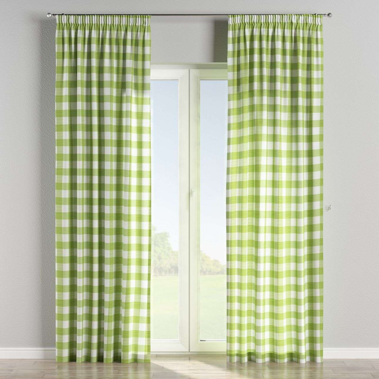 Pencil pleat curtains 130 × 260 cm (51 × 102 inch) in collection Quadro, fabric: 136-36