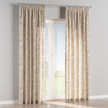 Pencil pleat curtains 130 x 260 cm (51 x 102 inch) in collection Flowers, fabric: 311-12