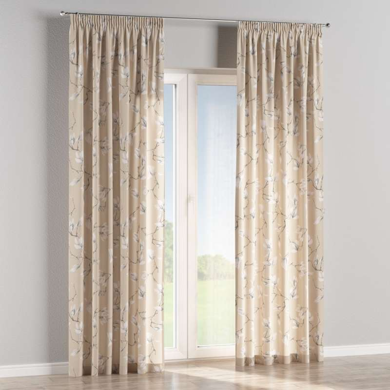 Pencil pleat curtain in collection Flowers, fabric: 311-12