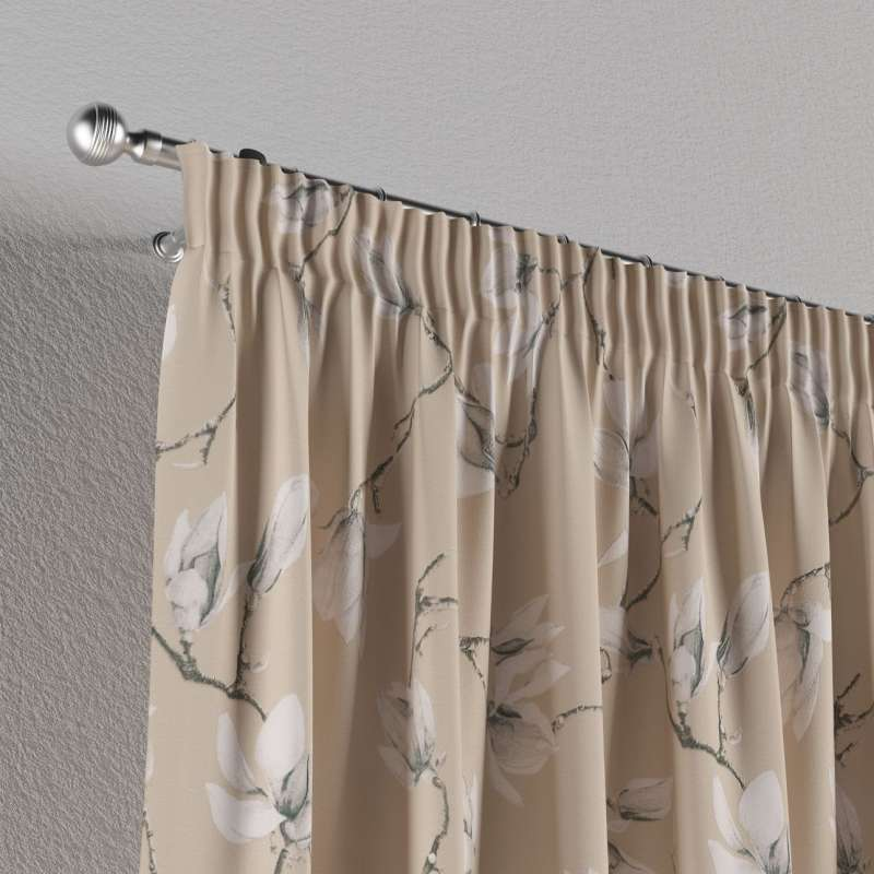Pencil pleat curtains in collection Flowers, fabric: 311-12