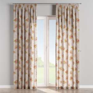 Pencil pleat curtains 130 x 260 cm (51 x 102 inch) in collection Flowers, fabric: 311-15