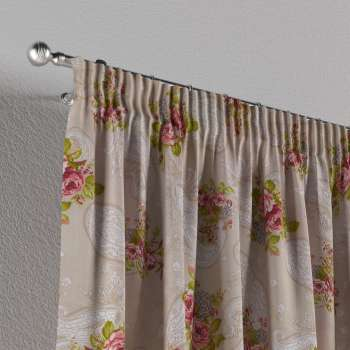 Pencil pleat curtains 130 × 260 cm (51 × 102 inch) in collection Flowers, fabric: 311-15