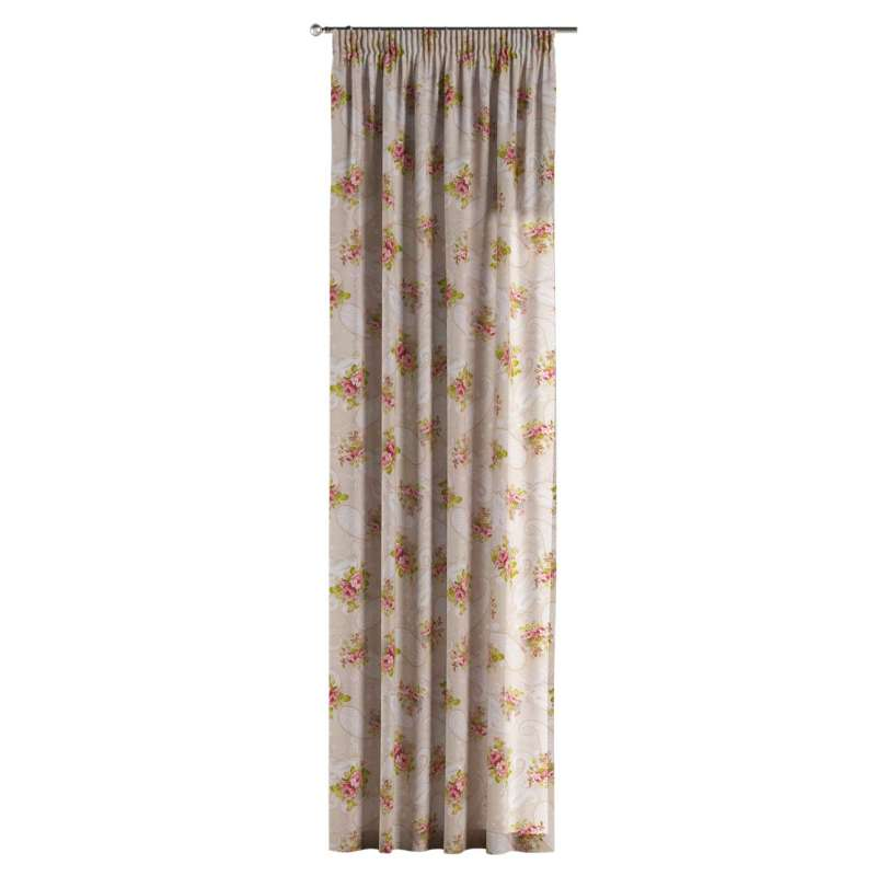 Pencil pleat curtain in collection Flowers, fabric: 311-15