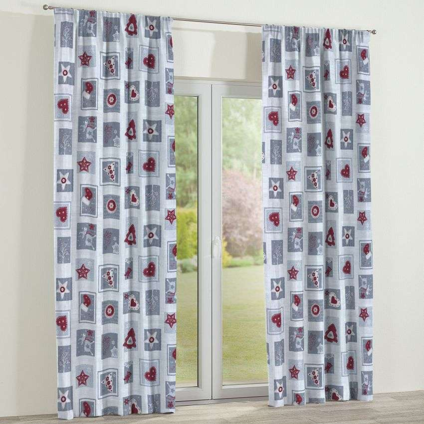 Pencil pleat curtains 130 x 260 cm (51 x 102 inch) in collection Christmas , fabric: 629-23