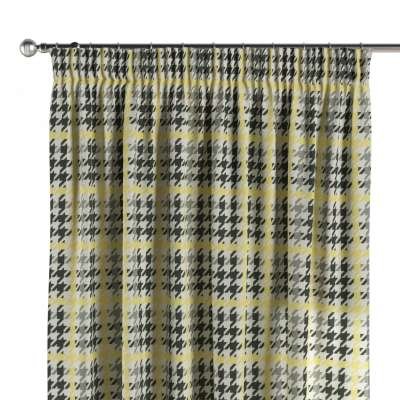 Pencil pleat curtain 137-79 yellow and black houndstooth Collection SALE