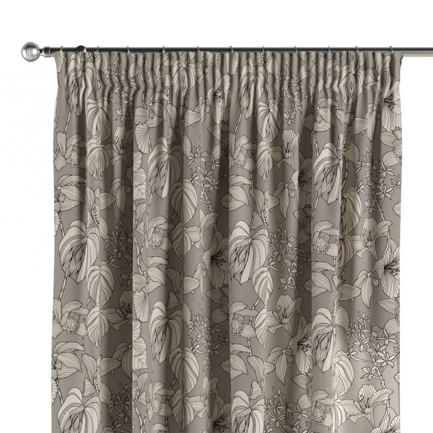 Pencil Pleat Curtains Black And White Flowers On Grey