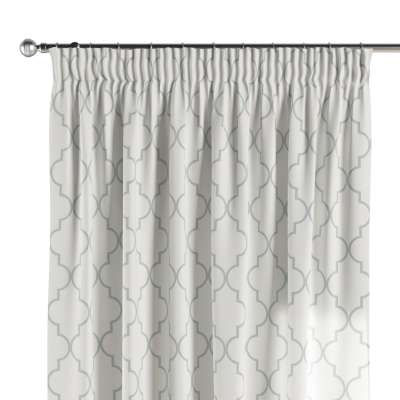 Pencil pleat curtain 137-85 grey Moroccan pattern on white background Collection Comics/Geometrical