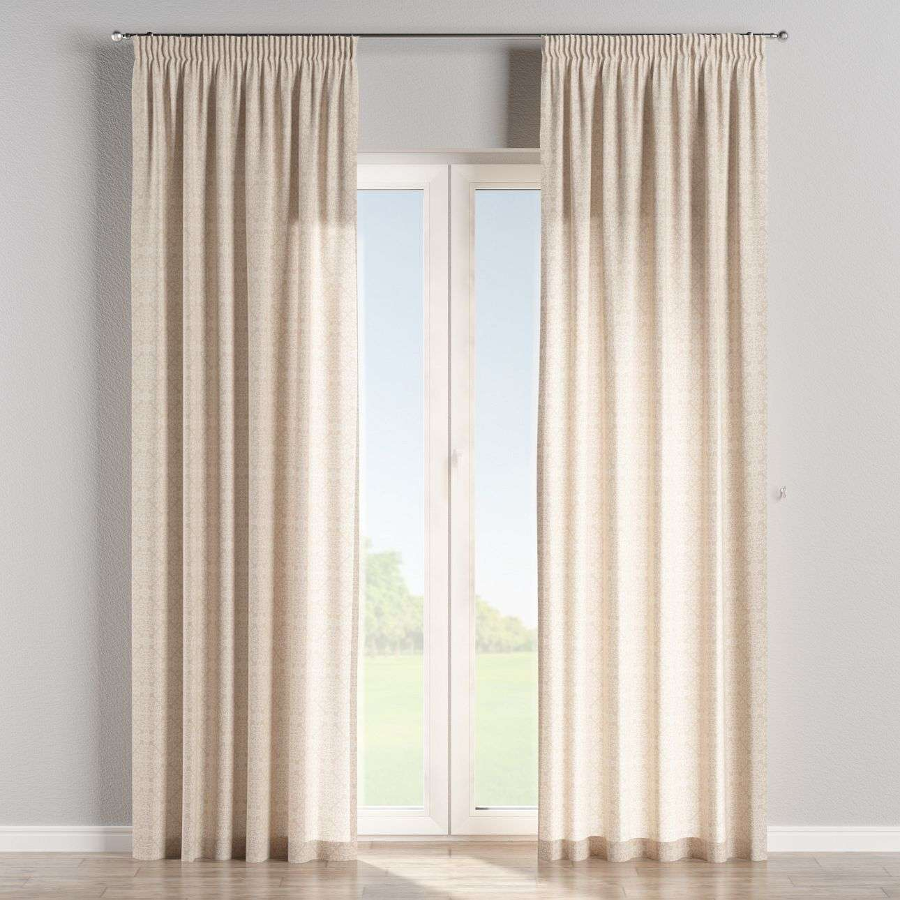 Pencil pleat curtains in collection Flowers, fabric: 140-39