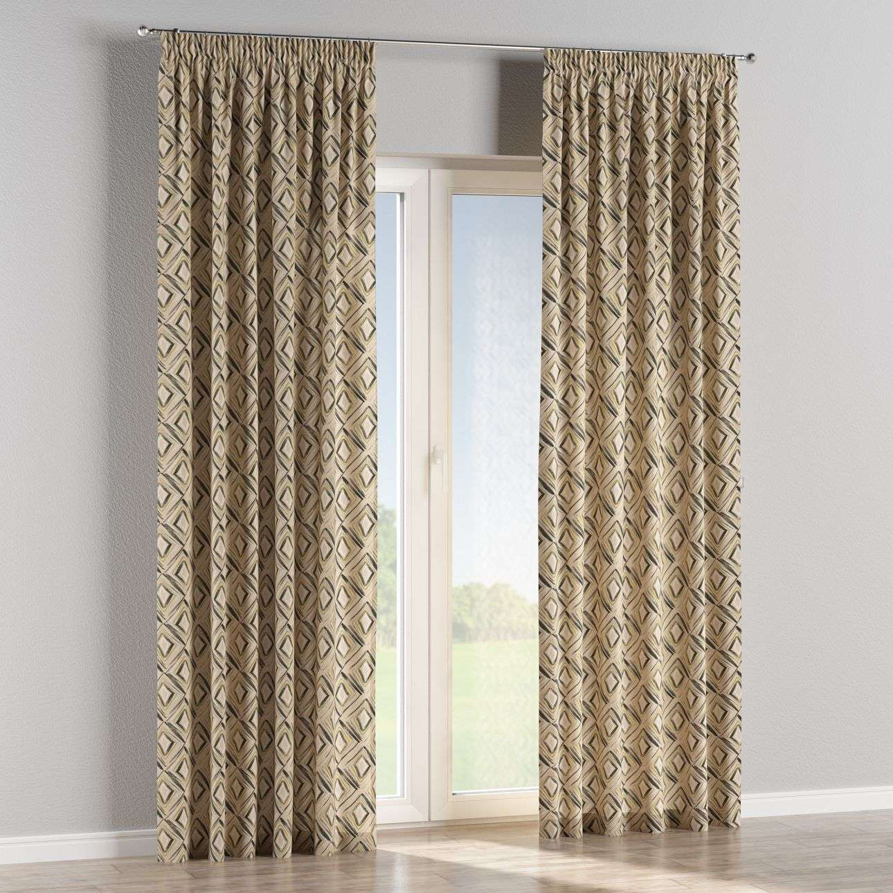 Pencil pleat curtains 130 x 260 cm (51 x 102 inch) in collection Londres, fabric: 140-46