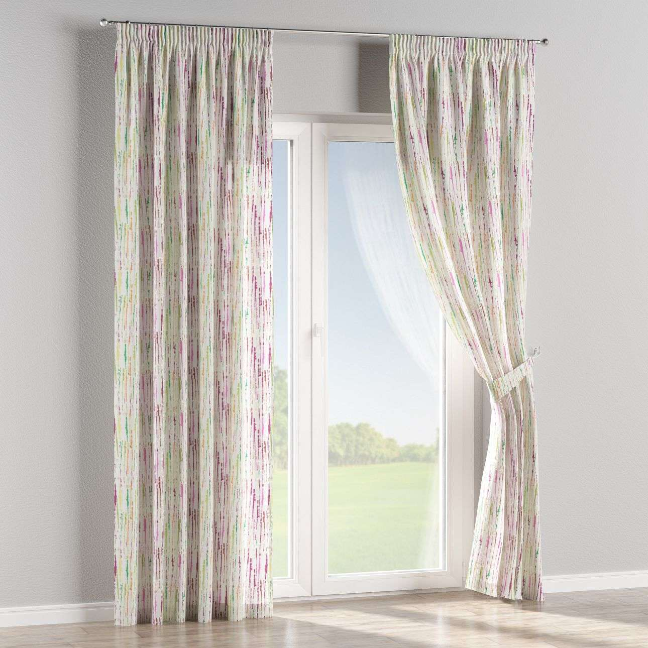Pencil pleat curtains in collection Aquarelle, fabric: 140-72