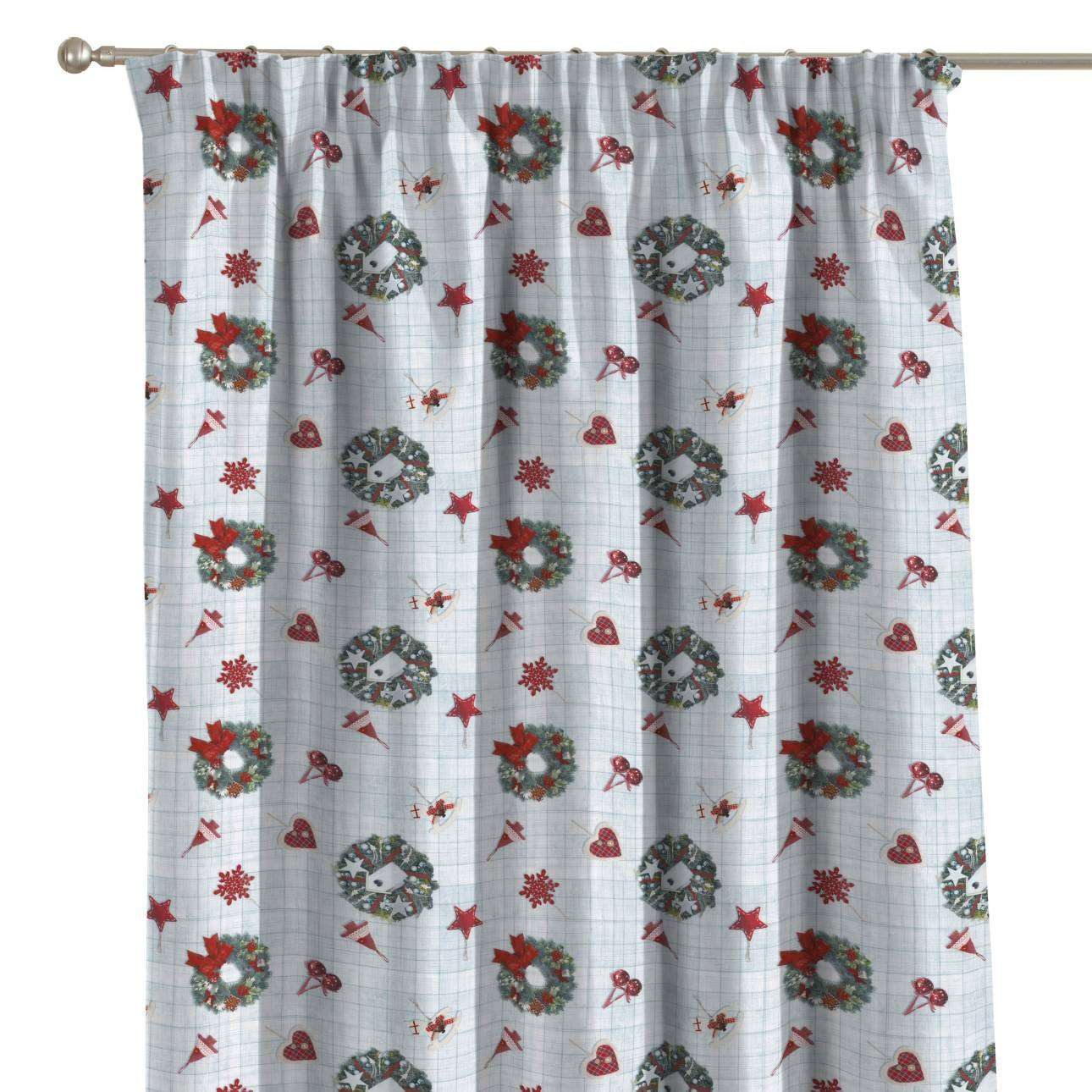 Pencil pleat curtains 130 x 260 cm (51 x 102 inch) in collection Christmas , fabric: 629-26