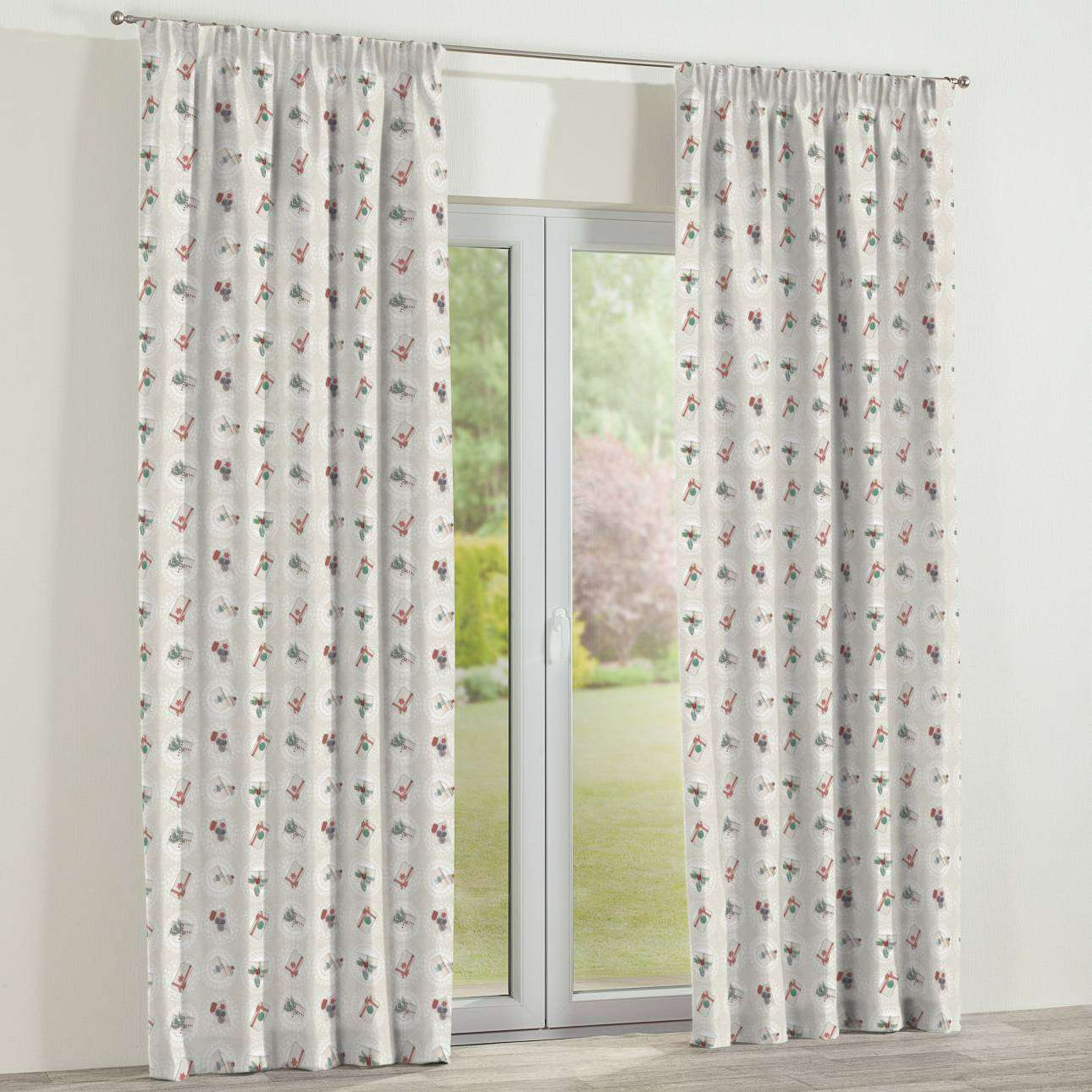 Pencil pleat curtains 130 x 260 cm (51 x 102 inch) in collection Christmas , fabric: 629-30