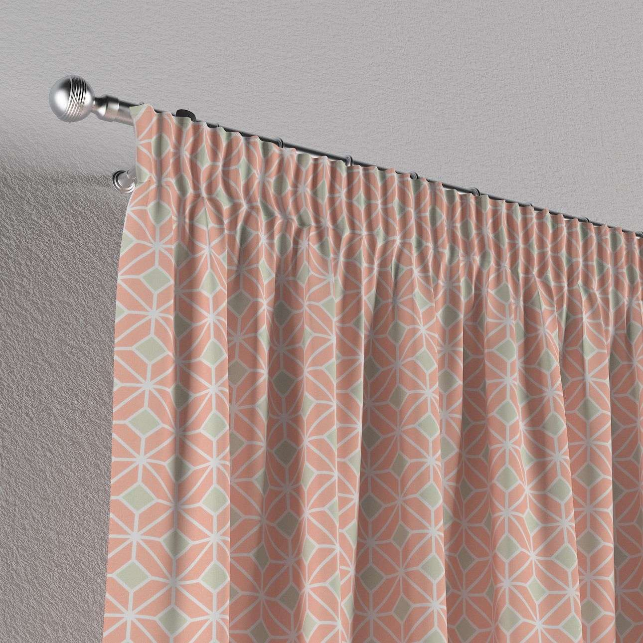 Pencil pleat curtains 130 x 260 cm (51 x 102 inch) in collection Geometric, fabric: 141-48