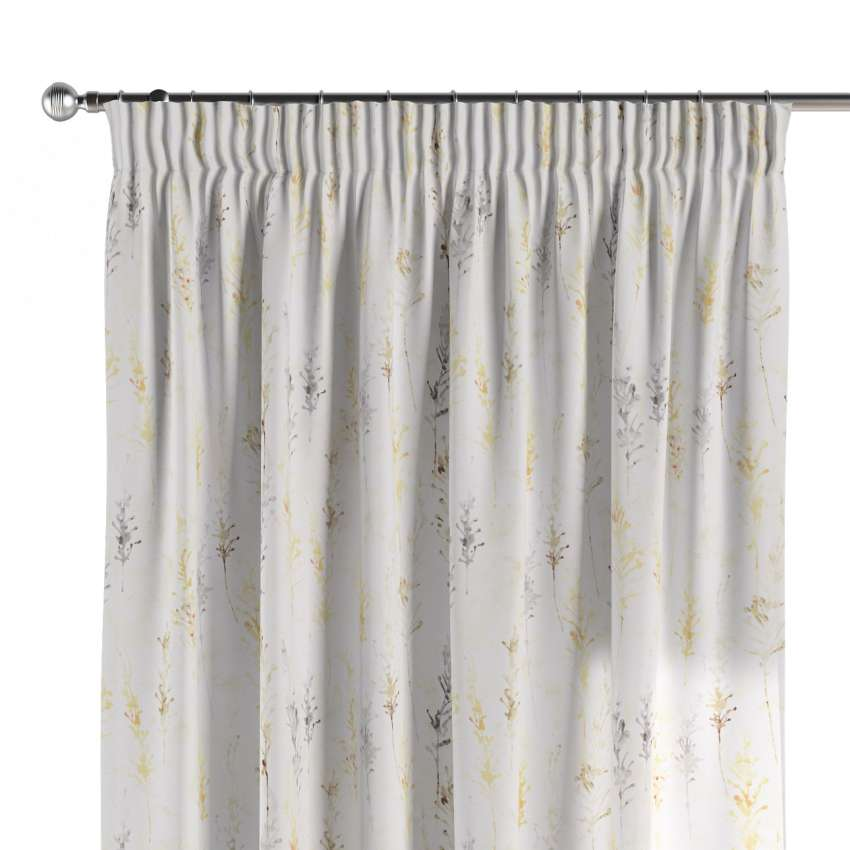 Pencil Pleat Curtains Yellow And Grey Botanical Pattern