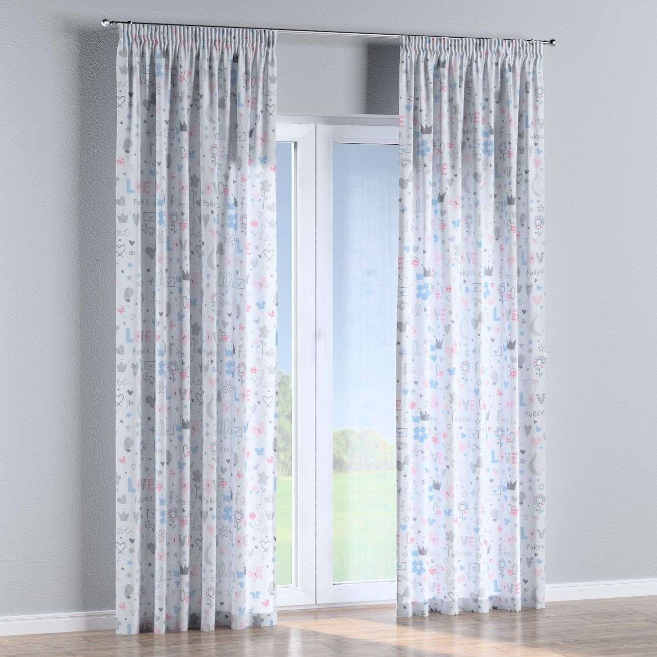 Pencil pleat curtains in collection Little World, fabric: 141-27