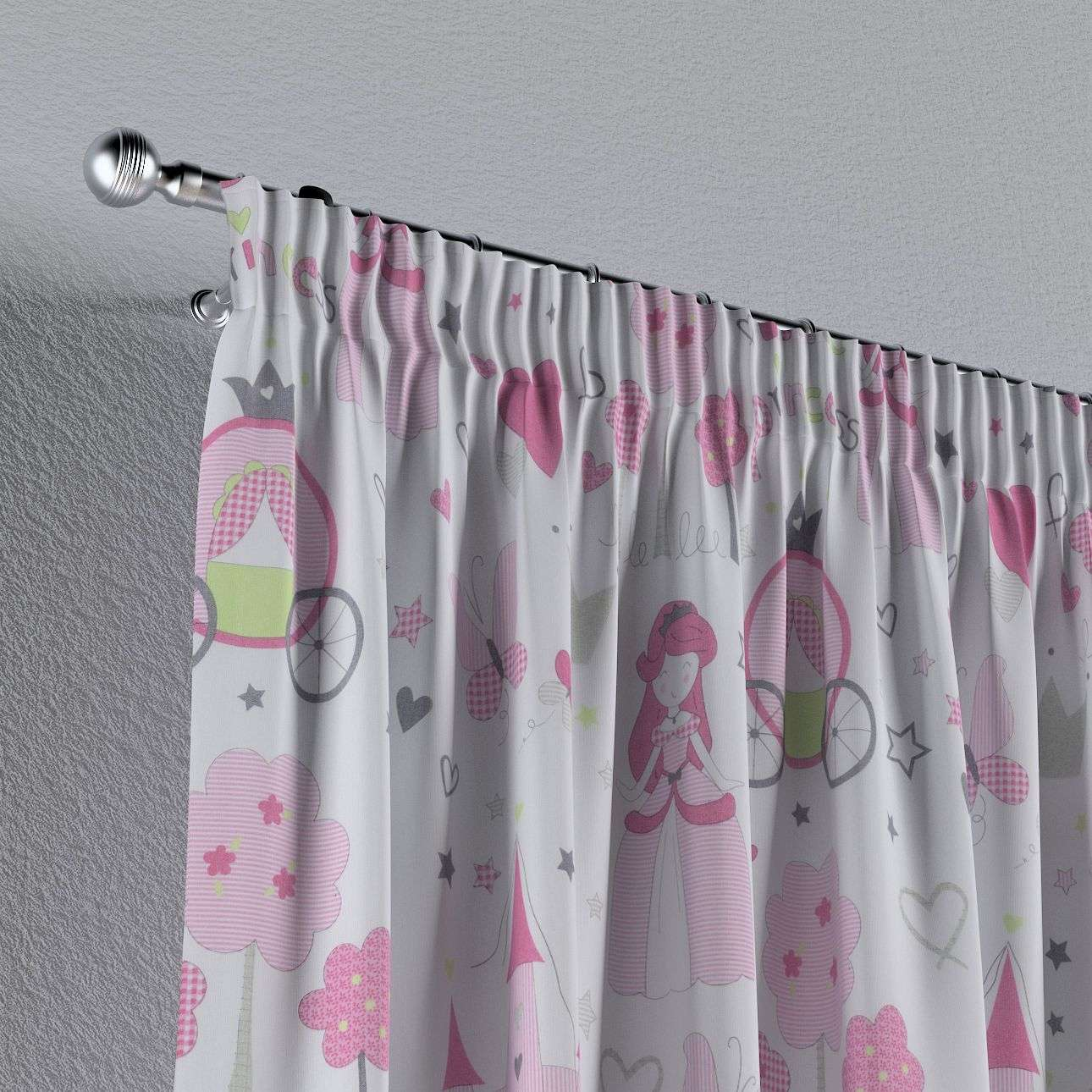 Pencil pleat curtains 130 × 260 cm (51 × 102 inch) in collection Little World, fabric: 141-28