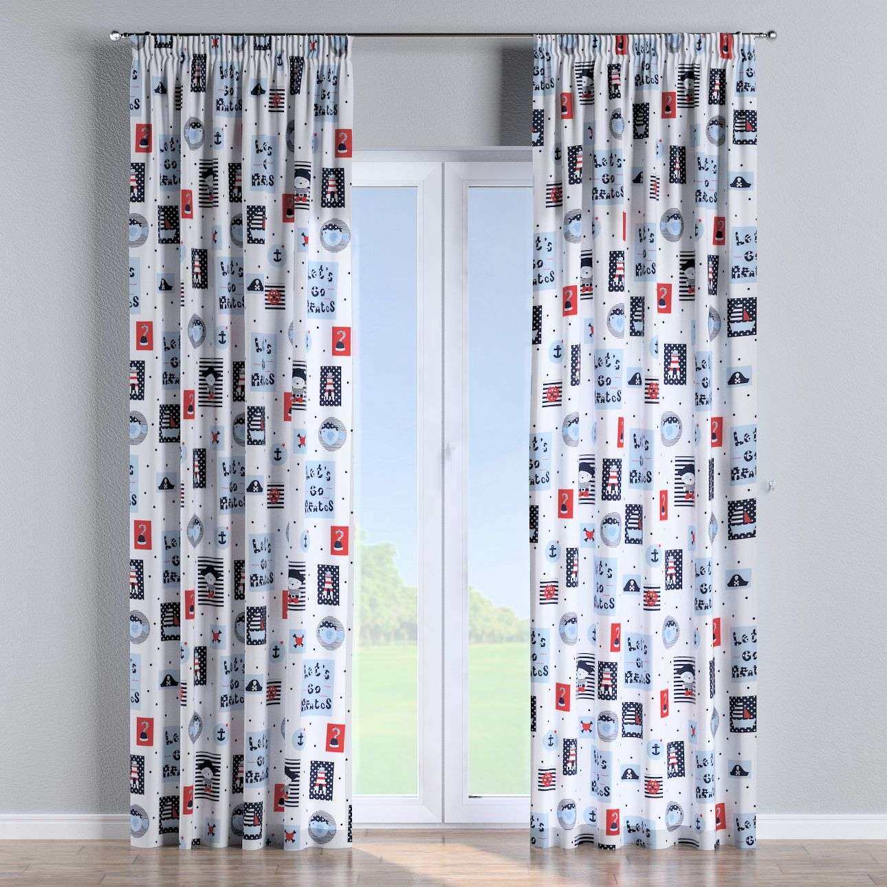 Pencil pleat curtains in collection Little World, fabric: 141-29