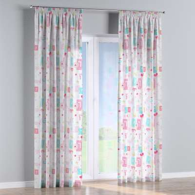 Pencil pleat curtain 141-51 pastel pattern of white background Collection Little World