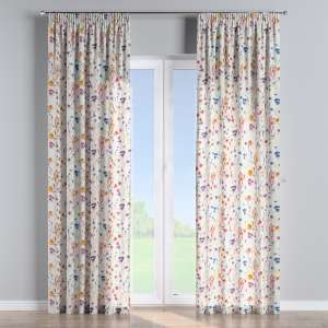Pencil pleat curtains 130 x 260 cm (51 x 102 inch) in collection Flowers, fabric: 141-53
