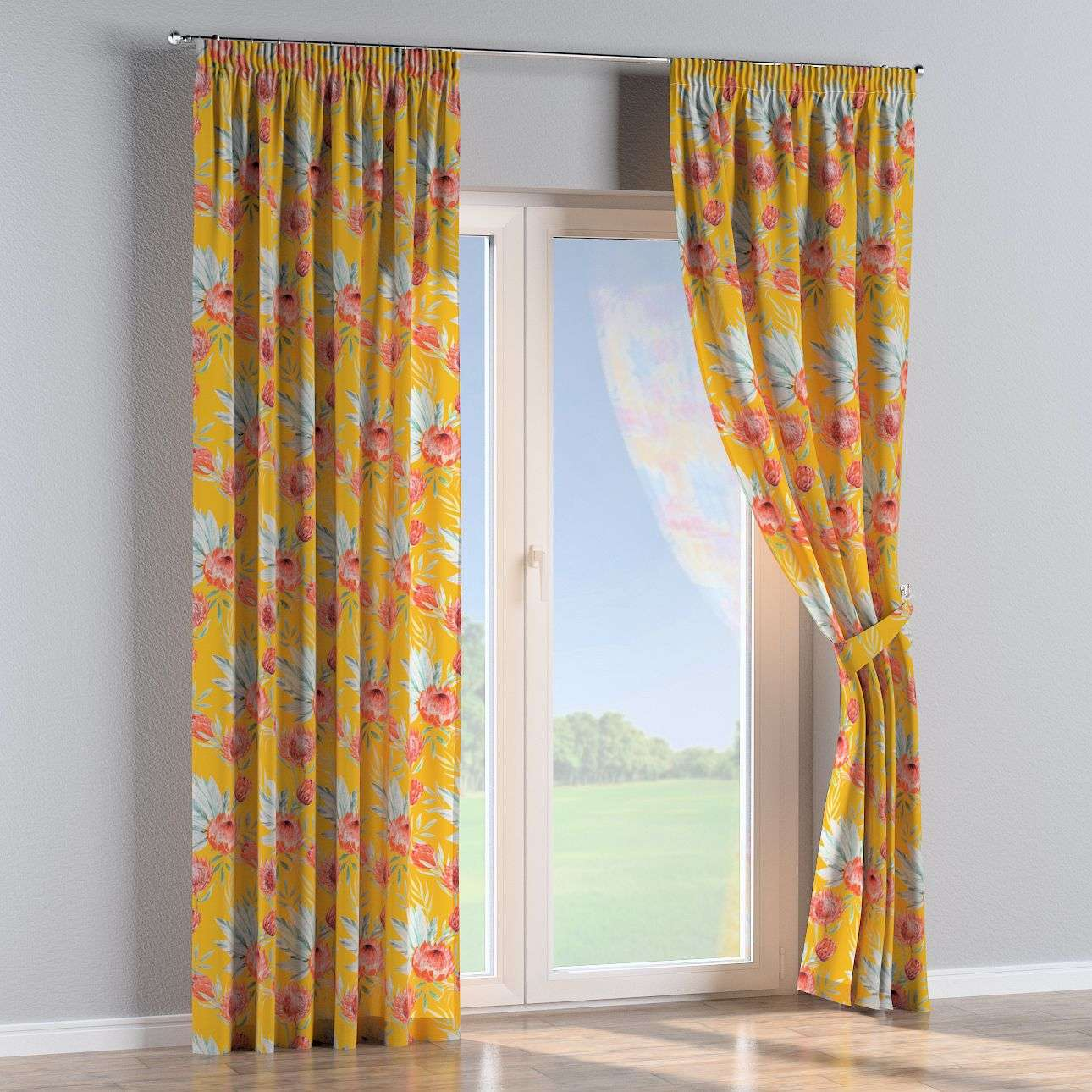 Pencil pleat curtains 130 x 260 cm (51 x 102 inch) in collection New Art, fabric: 141-58