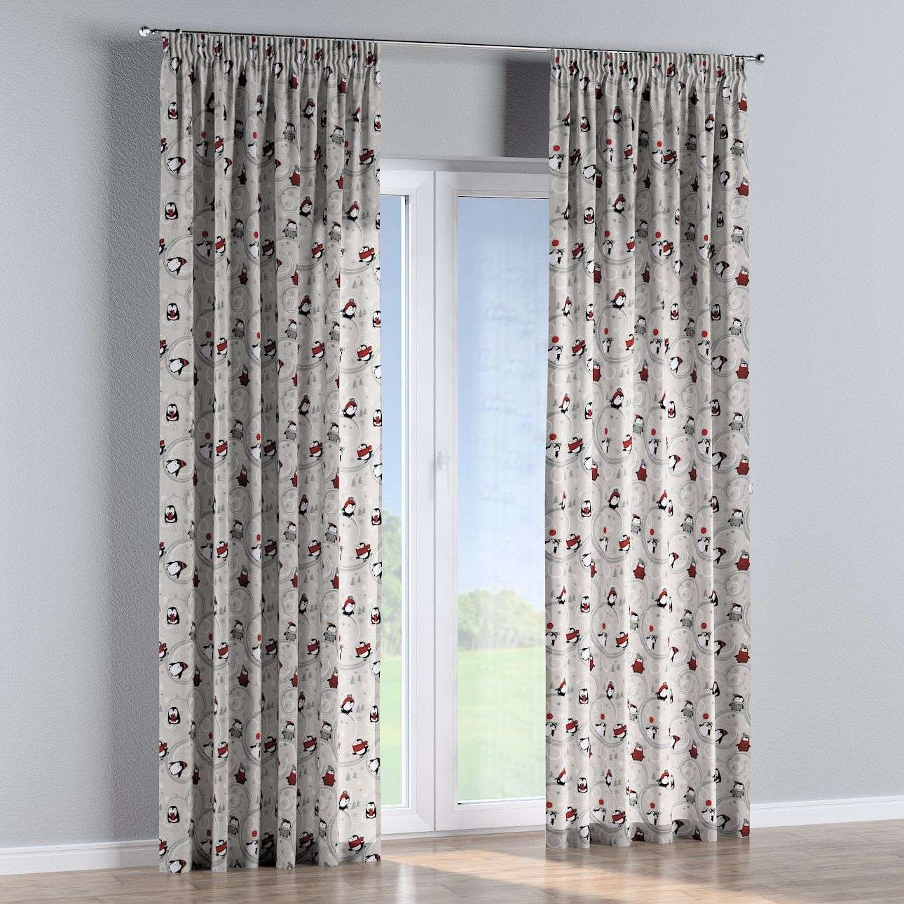 Pencil pleat curtains 130 x 260 cm (51 x 102 inch) in collection Christmas, fabric: 629-33