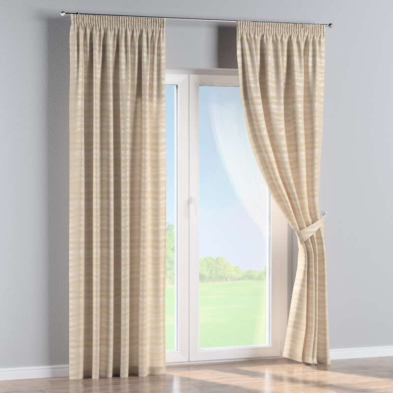 Pencil pleat curtain in collection Damasco, fabric: 141-76