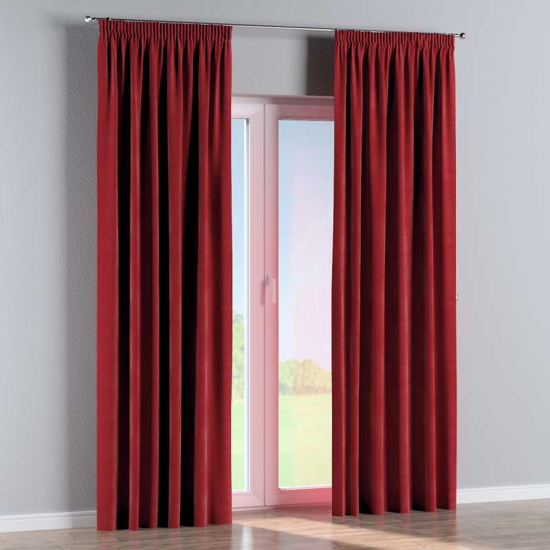 Pencil pleat curtain in collection Velvet, fabric: 704-15