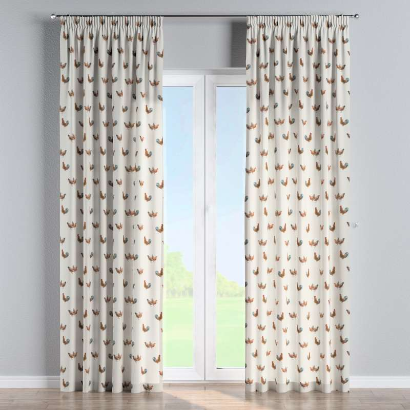 Pencil pleat curtain in collection Flowers, fabric: 141-80